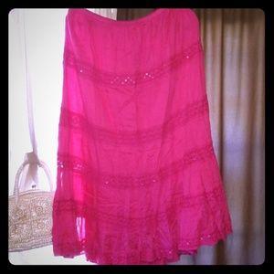 Boho Gypsy style pink skirt size L to Xl